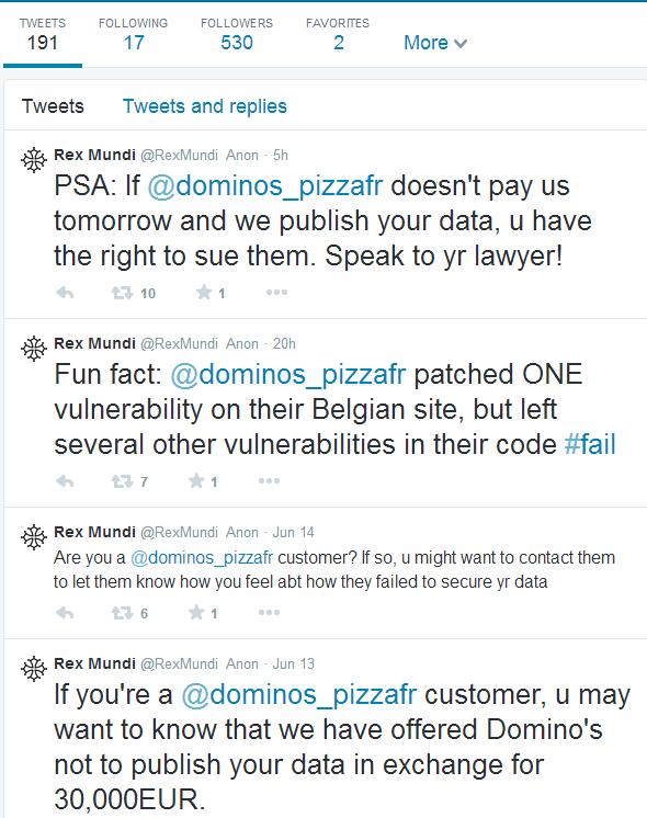 Domino's Pizza : les hackeurs à l'origine du piratage demande une rançon!