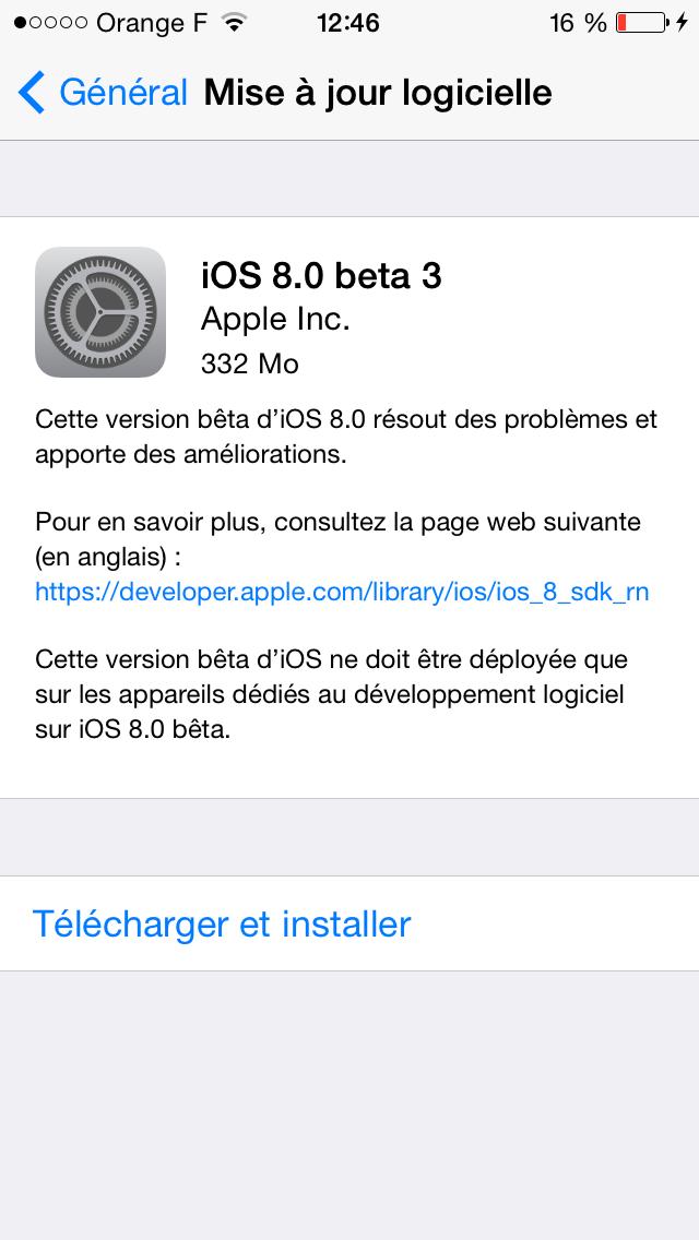 iOS 8 bêta 3 est disponible pour les développeurs