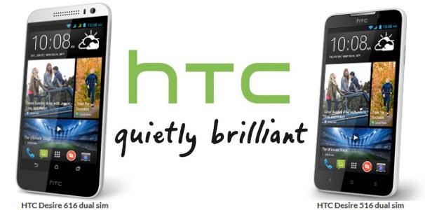 HTC dévoile ses HTC Desire 516 et HTC Desire 616, des smartphone dual SIM respectivement d'entrée et de milieu de gamme