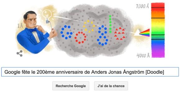 Google fête le 200ème anniversaire de Anders Jonas Ångström [Doodle]