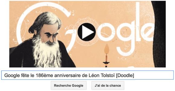Google fête le 186ème anniversaire de Léon Tolstoï [Doodle]