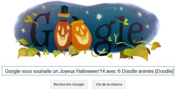 Google vous souhaite un Joyeux Halloween 2014 avec 6 Doodle animés [Doodle]