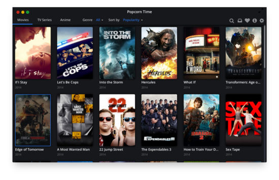 Popcorntime - Interface digne de Netflix ou Apple TV