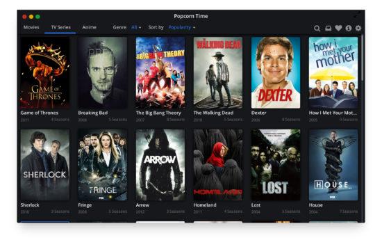 Popcorn Time, interface séries, Waou !