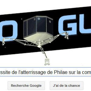 Google fête la réussite de l'atterrissage de Philae sur la comète [Doodle]