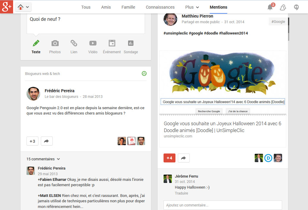 "Google ajoute un onglet ""Mentions"" à Google+ version web"