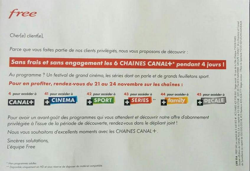Les 6 chaînes Canal+ en clair pendant 4 jours sur Freebox du 21 au 24 novembre 2014