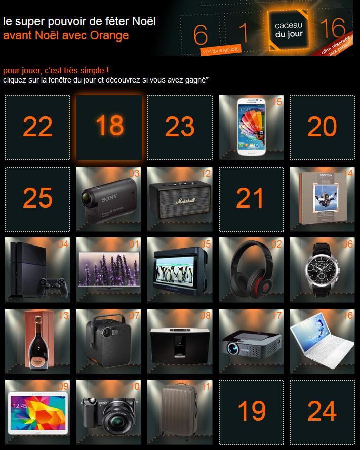 orange aussi fait plein de cadeaux pour no l avec son calendrier de l 39 avent unsimpleclic. Black Bedroom Furniture Sets. Home Design Ideas