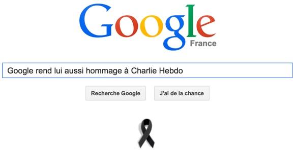 Google rend lui aussi hommage à Charlie Hebdo