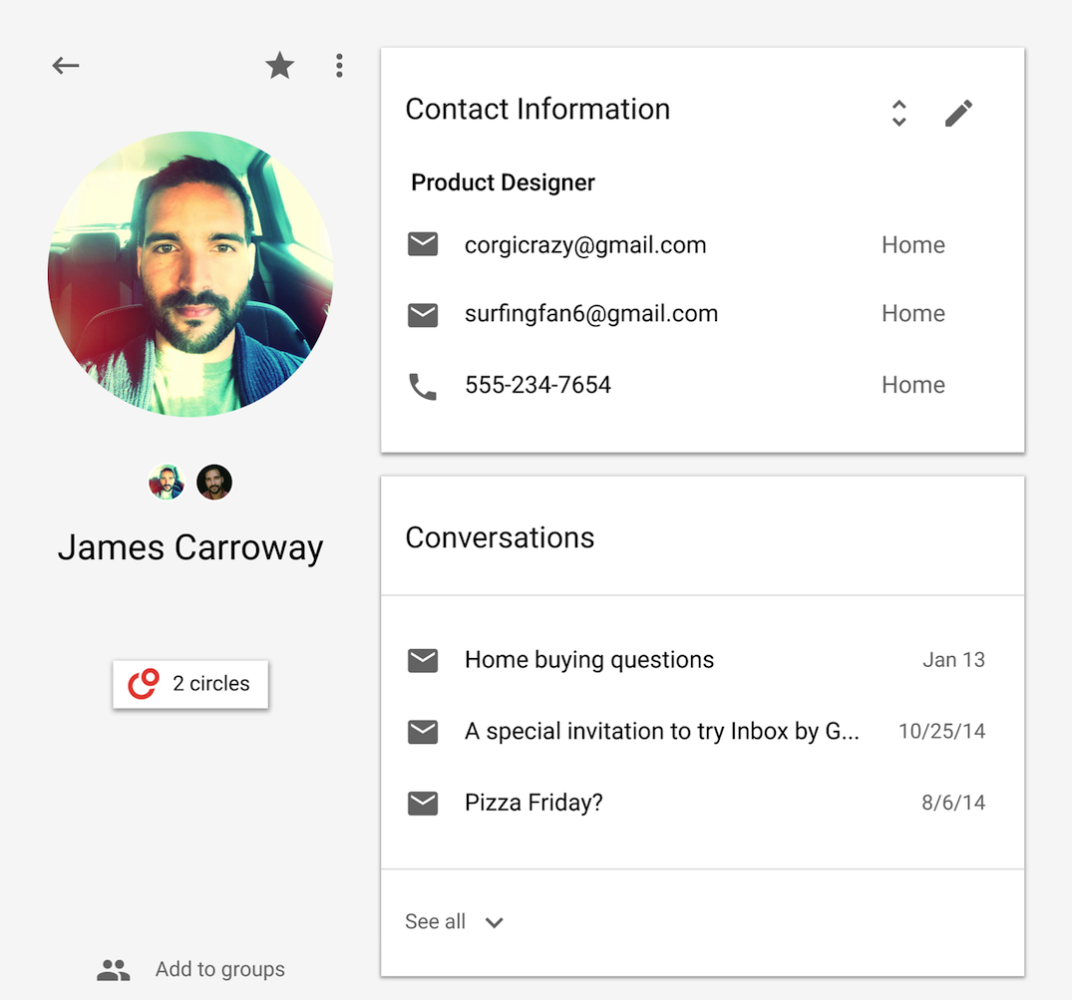 Google teste une nouvelle version de son application Contacts