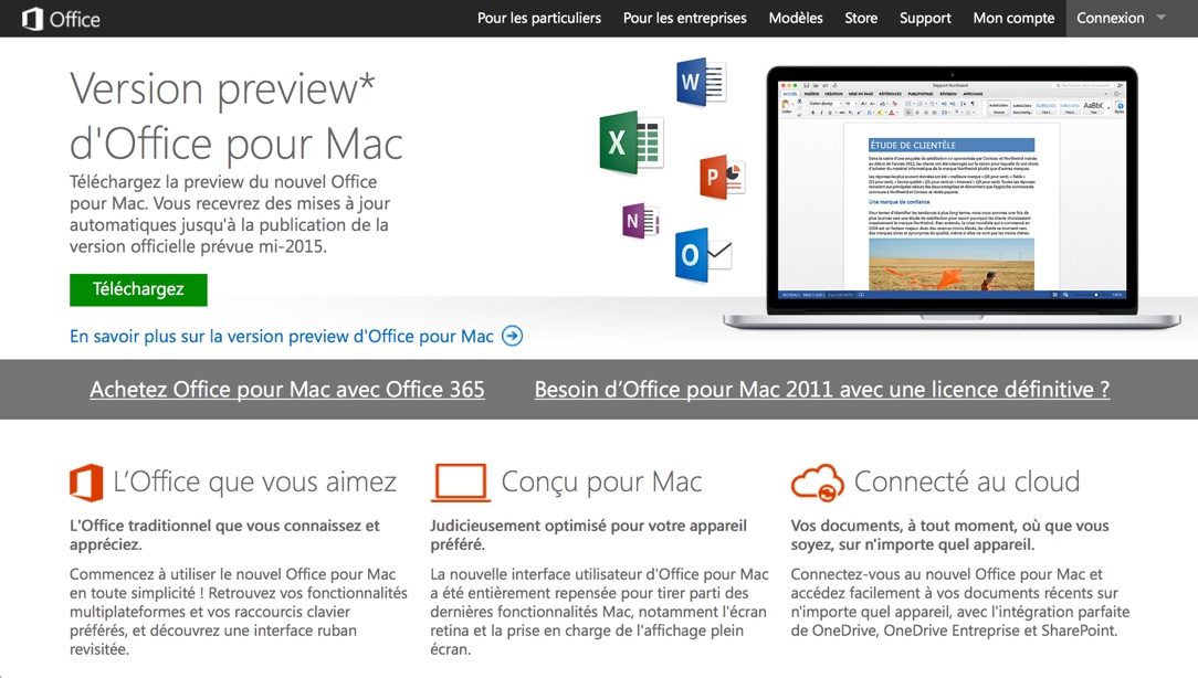 Microsoft Office 2016 est disponible pour Mac OS X en version bêta