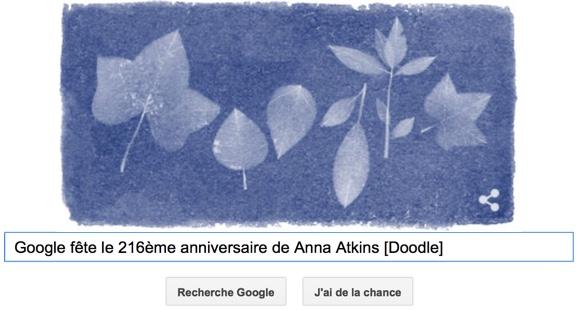 Google fête le 216ème anniversaire de Anna Atkins [Doodle]