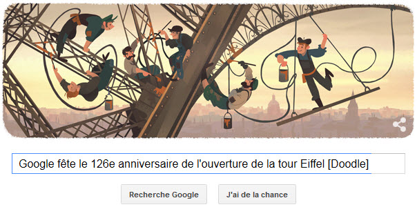 Google fête le 126e anniversaire de l'ouverture de la tour Eiffel [Doodle]
