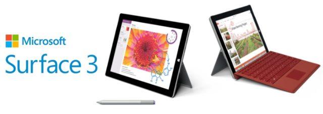 Microsoft Surface 3 : caractéristiques, prix et disponibilité