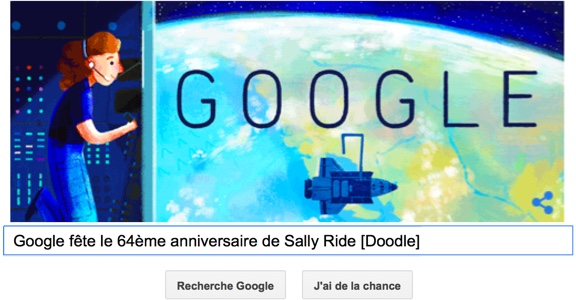 Google fête le 64ème anniversaire de Sally Ride [Doodle]