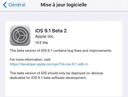 L'iOS 9.1 bêta 2 est disponible pour les développeurs