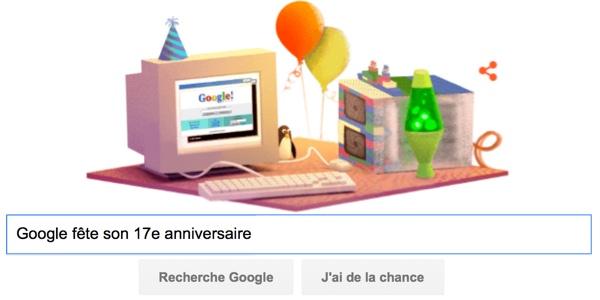 Google fête son 17e anniversaire [Doodle]