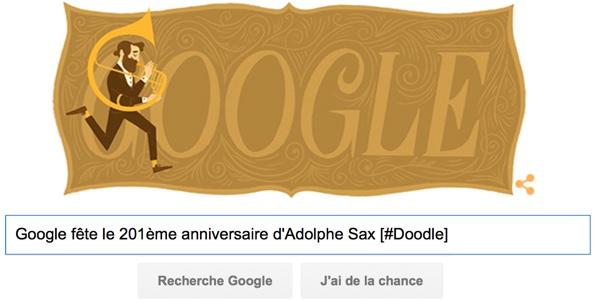 Google fête le 201ème anniversaire d'Adolphe Sax