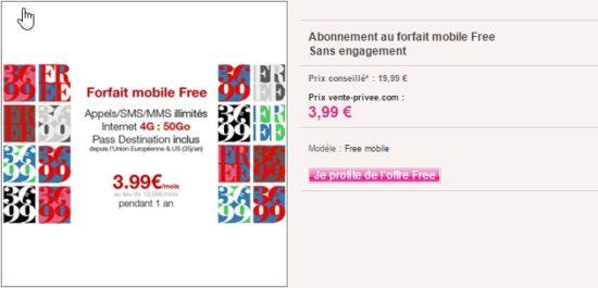 Free lance une promo Free Mobile sur vente-privée : forfait à 3,99€ par mois pendant 1 an