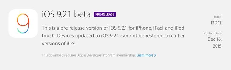 L'iOS 9.2.1 bêta 1 est disponible pour les développeurs