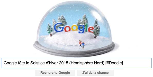 Google fête le Solstice d'hiver 2015 (Hémisphère Nord) [#Doodle]