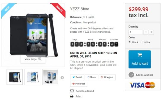 #CES2016 - Yezz a présenté son Sfera, un smartphone à vous faire tourner la tête