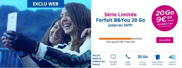 Bouygues Telecom propose un forfait B&YOU illimité et 20 Go de data à 9,99€ pendant 1 an