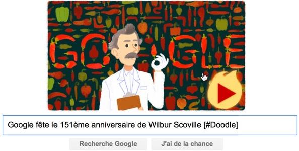 Google fête le 151ème anniversaire de Wilbur Scoville [#Doodle]