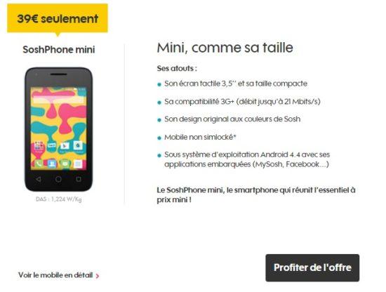 Sosh commercialise un Soshphone Mini à prix très réduit (39€)