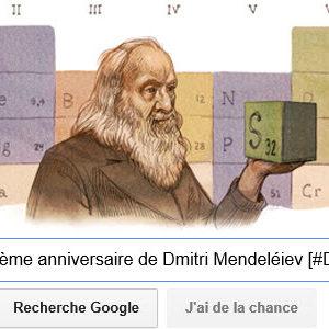 Google fête le 182ème anniversaire de Dmitri Mendeléiev [#Doodle]