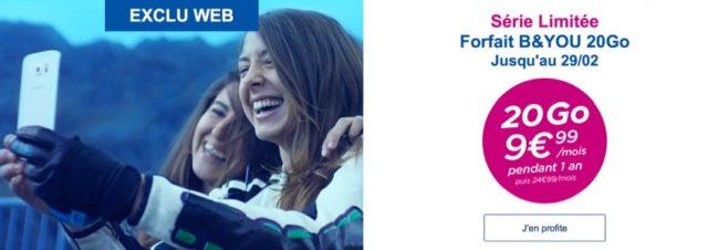 Bouygues relance la promotion du forfait B&YOU illimité et 20 Go de data à 9,99 € jusqu'au 29 février