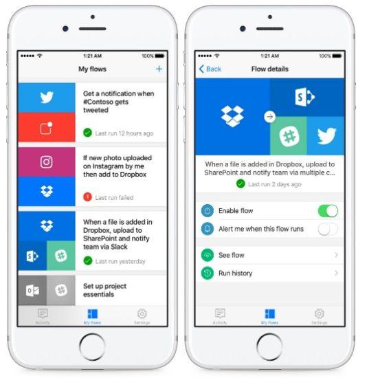 Flow, le générateur de workflow de Microsoft débarque sur iOS