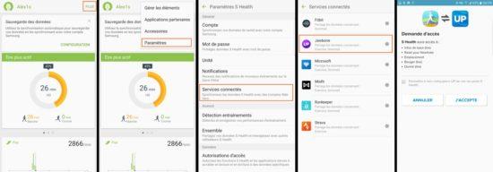 L'application Samsung S Health est compatible avec Fitbit, Jawbone et Misfit