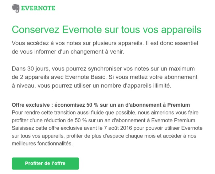 Evernote : une mise à jour de l'application mobile et une Offre Premium à -50%