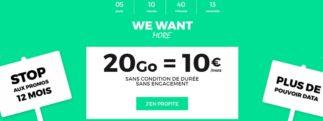 SFR propose un forfait Red 20Go pour 10 euros par mois sans limite de temps