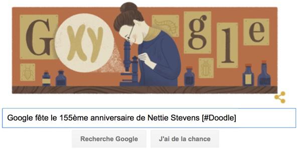 Google fête le 155ème anniversaire de Nettie Stevens [#Doodle]