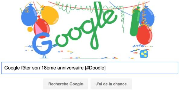 Google fête son 18ème anniversaire [#Doodle]