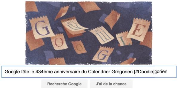 Google fête le 434ème anniversaire du Calendrier Grégorien [#Doodle]