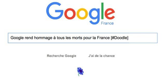 Google rend hommage à tous les morts pour la France [#Doodle]