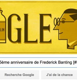 Google fête le 125ème anniversaire de Frederick Banting [#Doodle]