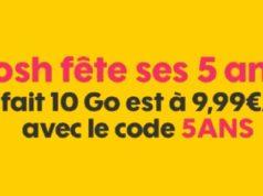 Pour ses 5 ans, Sosh propose son forfait 10Go à seulement 9,99€/mois