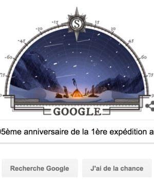 Google fête le 105ème anniversaire de la première expédition au pôle Sud [#Doodle]