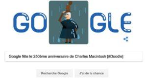 Google fête le 250ème anniversaire de la naissance de Charles Macintosh [#Doodle]