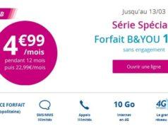 Le forfait B&You 10 Go à 4,99€/mois pendant 1 an