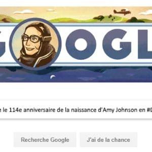 Google célèbre le 114e anniversaire de la naissance d'Amy Johnson en #Doodle