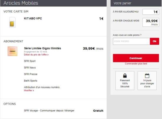SFR dévoile un forfait Gigas illimités avec data illimité pour 39,99€ par mois