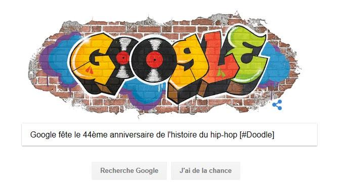 Google célèbre les 44 ans du hip-hop avec un Doodle