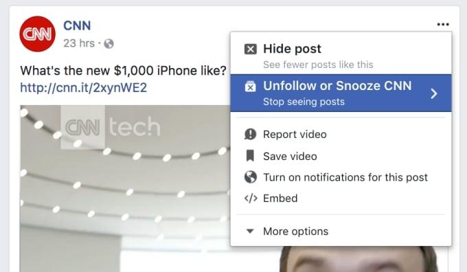 Snooze, le bouton Facebook pour mettre en veilleuse ses