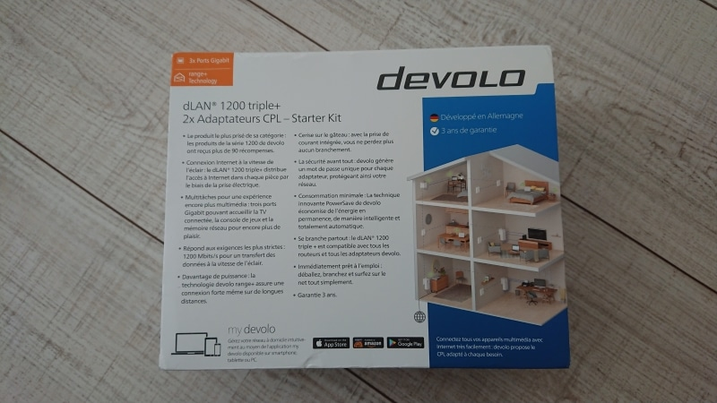 devolo dlan 1200 triple un kit cpl quip de 3 ports. Black Bedroom Furniture Sets. Home Design Ideas