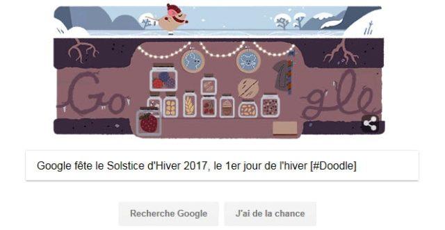 Google fête le Solstice d'Hiver 2017, le 1er jour de l'hiver [#Doodle]